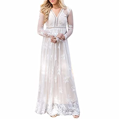 Paixpays Women White Long Sleeve Lace Floral Long Dress Party Prom Gown Maxi at Amazon Womens Clothing store: