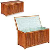 INLIFE Solid Acacia Wood Garden Storage Box Weather Resistant Deck Chest Container with Lining Tool Shed Lounge Seat…