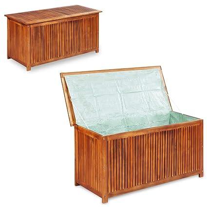 Phenomenal Festnight Outdoor Storage Bench Acacia Wood Garden Deck Box Waterproof Storage Container Patio Backyard Poolside Balcony Furniture Decor 59 X 19 7 X Inzonedesignstudio Interior Chair Design Inzonedesignstudiocom