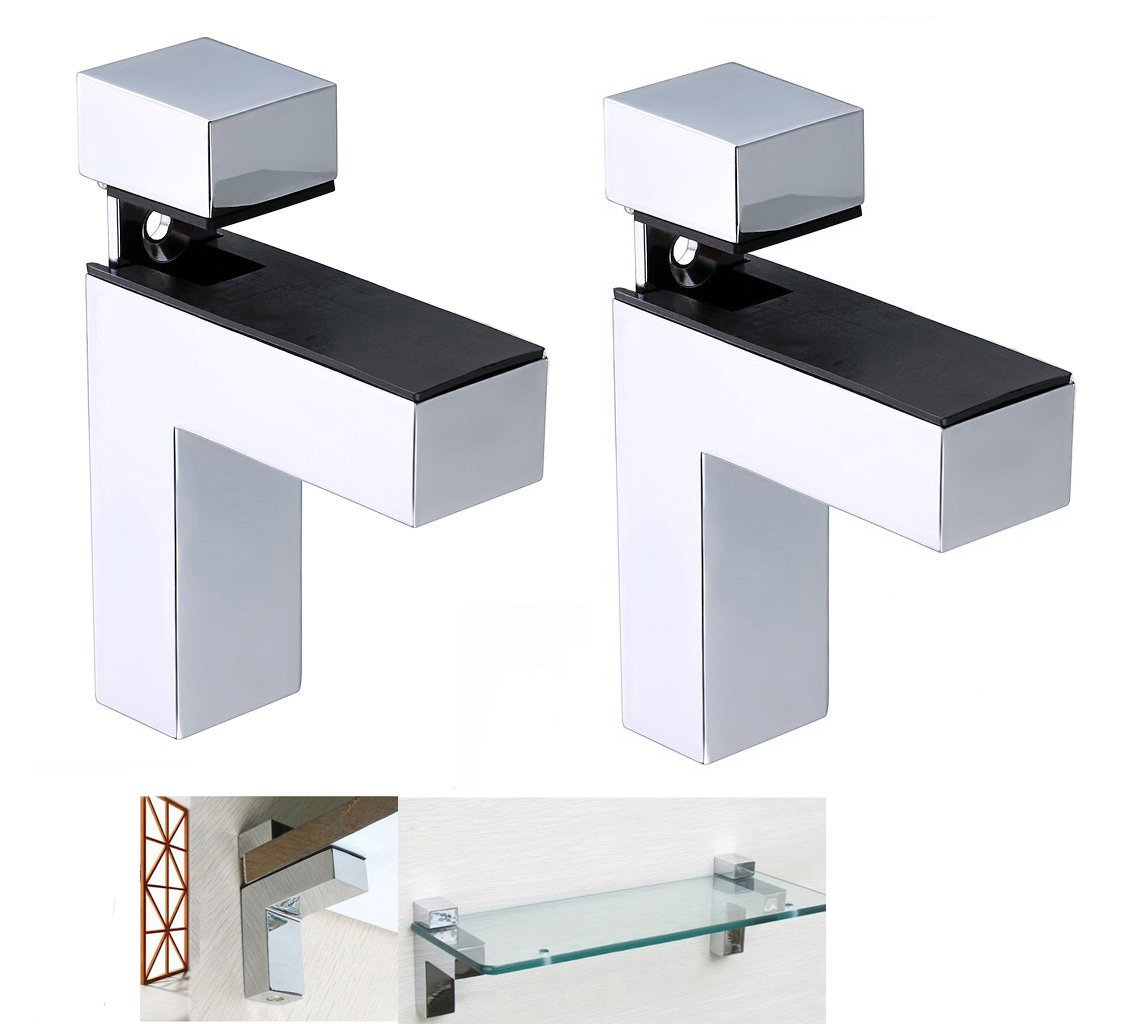 """Fashionclubs Solid Metal Adjustable Wall Mount Wood/Glass Shelf Supporter Bracket Holder,Shelf Holder Clamp Support for 8-50mm/0.31""""-1.96"""" Shelf Thickness,Pack of 2 (M, Style-one)"""