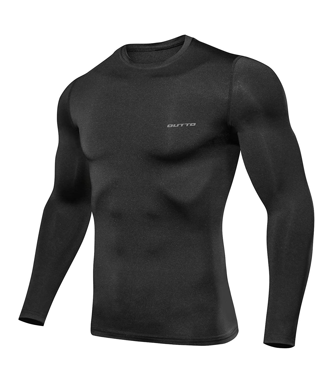 L119a Black XLarge Outto Men's Long Sleeve TShirt Cool Dry Compression Base Layer for Sports