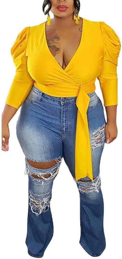 Women's Sexy Plus Size Long Sleeve V Neck Twist Knot Solid Wrap Peplum Blouse Shirt Tops Clubwear
