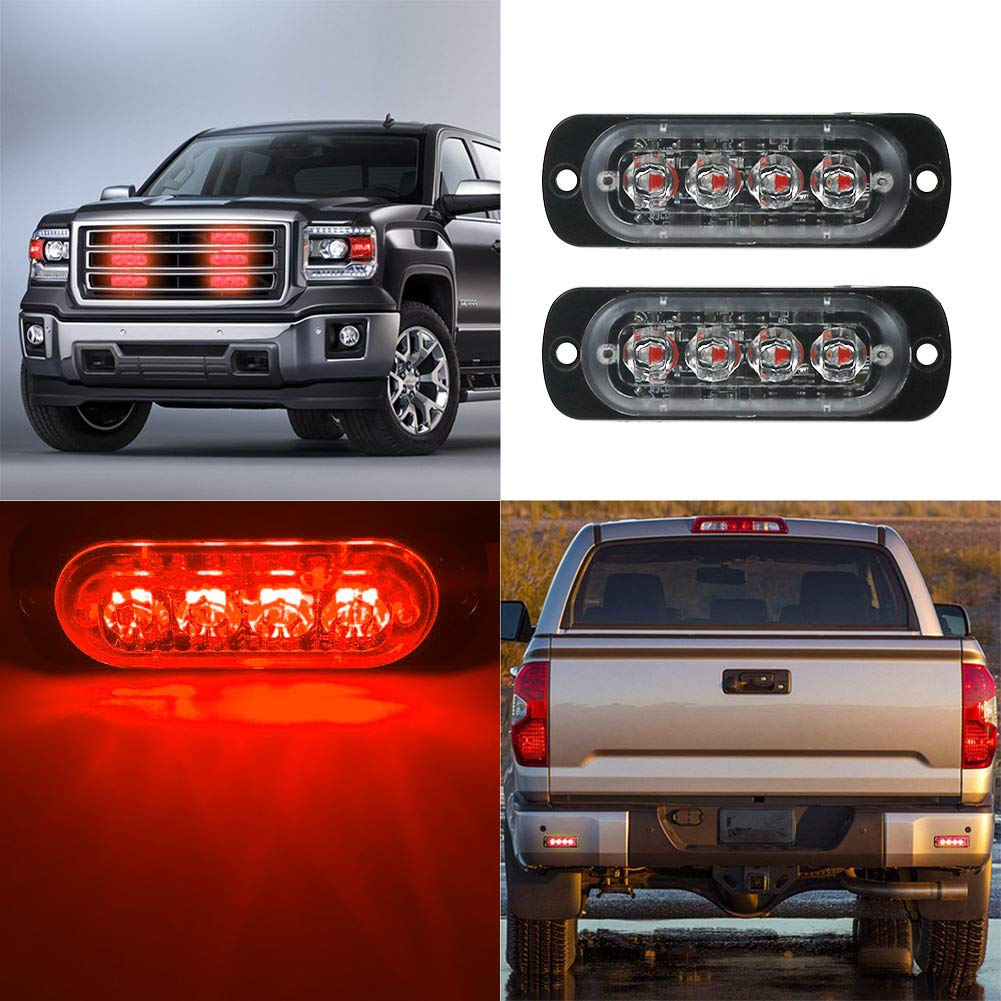 Ralbay 2 Pack 4-LED Red Waterproof Emergency Beacon Flash Caution Strobe Light Bar 19 Different Flashing for Car SUV Pickup Truck Van