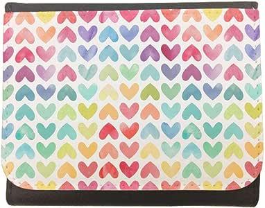 محفظة جلد  بتصميم رومانسي - قلوب، مقاس 12cm X 10cm