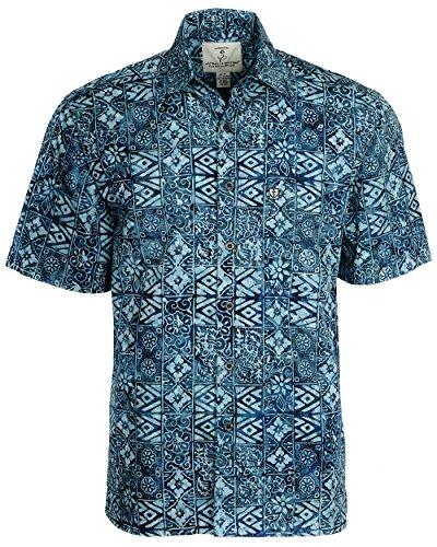 Artisan Outfitters New Mens High Tide Batik Cotton Shirt (2XL, Midnight Blue) A0214-83-2XL (Signature New Button 2)