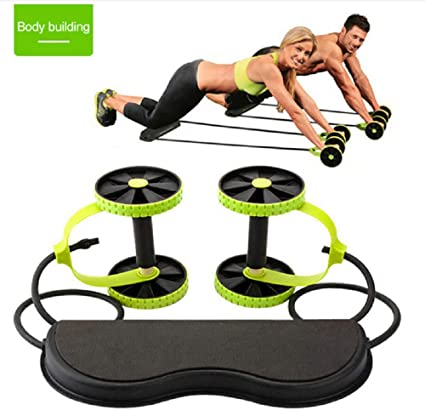 Amazon Com Abdominal Trainers Double Ab Roller Wheel Fitness