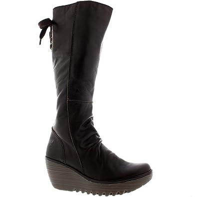 Amazon.com | Womens Fly London Yust Knee High Wedge Heel Leather ...