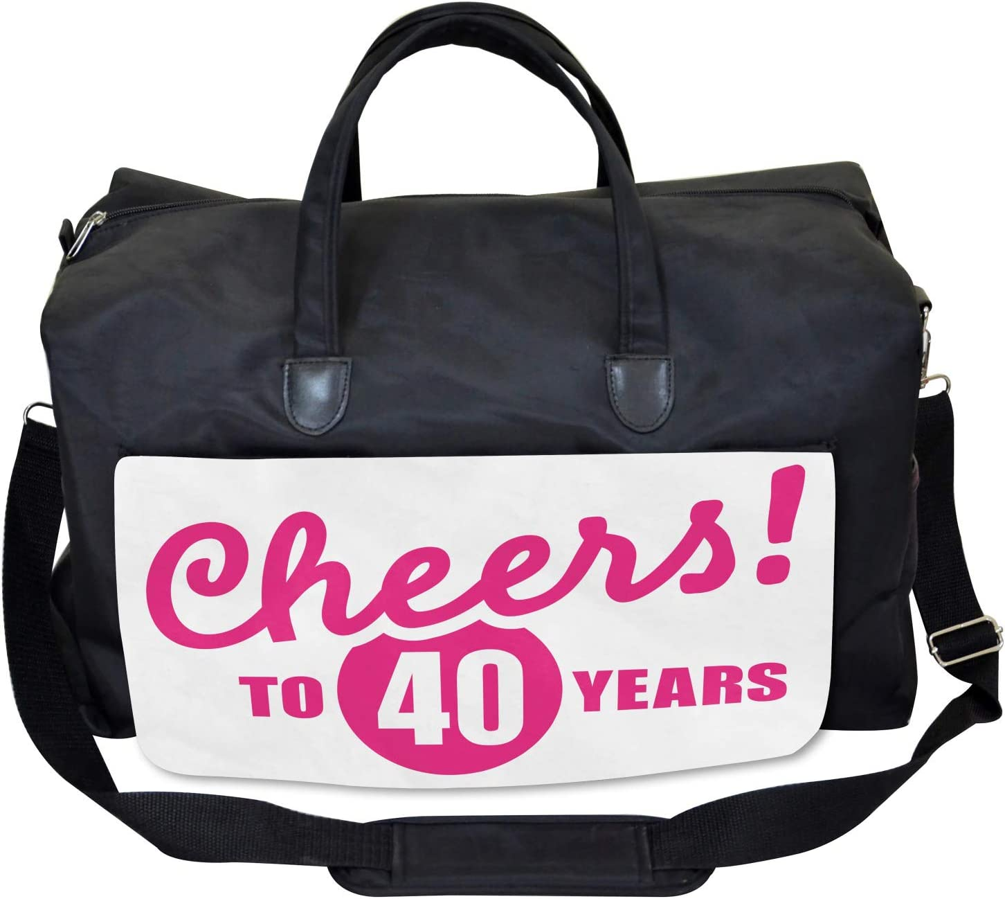 Ambesonne 40th Birthday Gym Bag Large Weekender Carry-on Cheery Greeting Icon