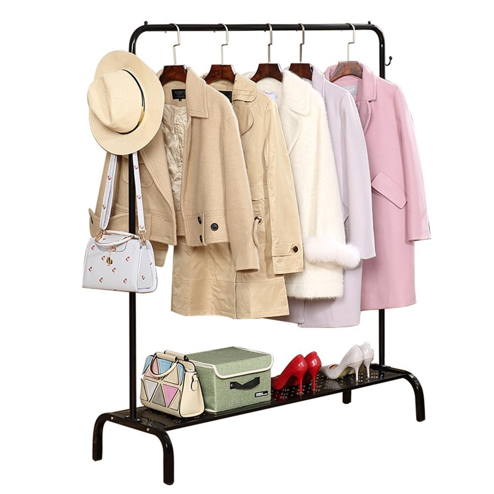 150150CM Black DYR Coat Hooks Floor Hangers with Single Iron Rod Art. Various Stable and Durable Dimensions (color  White, Dimensions  100  150 cm)