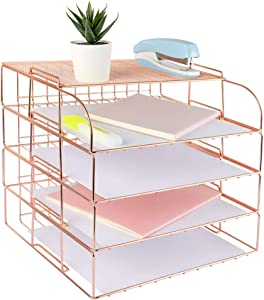 Spacrea Letter Tray, 4 Tier Rose Gold Desk Organizers and Accessories for Women, Stackable Paper Tray Organizer Desk File Organizer with 1 Upper Display Shelf (Rose Gold)