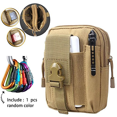 Tactical Bag Belt Pouches, Small Utility Military Backpack EDC Phone Waist Pack Accessories Water Bottle Holder Molly Vest Attachments - Included Caribiner Clip for Hiking, Camping, Climbing, - Compact Nylon Tool Bag