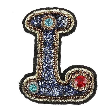 Parche de planchado bordado con letras inglesas de cristal ...