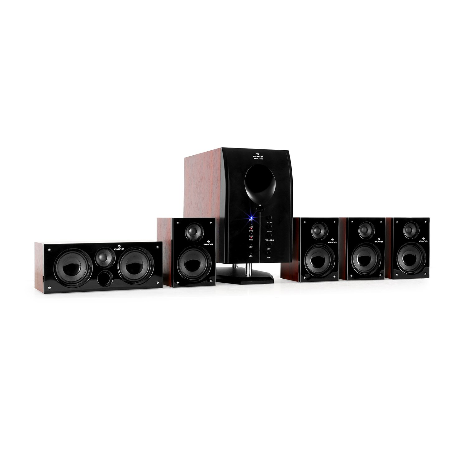 Auna Areal Nobility Système Surround 5.1 • Système Home Cinema • 120W RMS • 35W Subwoofer • Enceintes Satellites • Bluetooth 3.0 • Ports USB/SD • AUX-in • Noir MG5-Areal Nobilityf