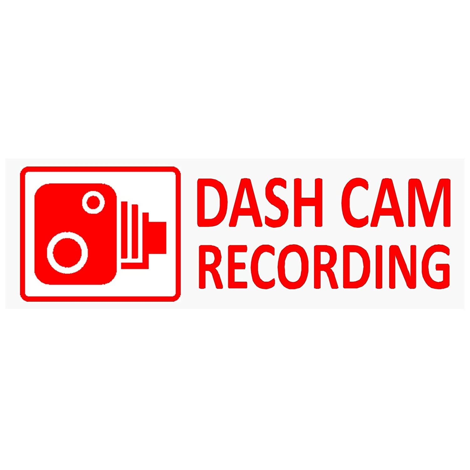 5 x DASH CAM Recording-RED/CLEAR-30mm x 87mm-Stickers-Vehicle Camera Security Warning Dash Cam Signs-CCTV, Car, Van, Truck, Taxi, Mini Cab, Bus, Coach, Notice, Deterrent, Protection, Protect, Secure Platinum Place