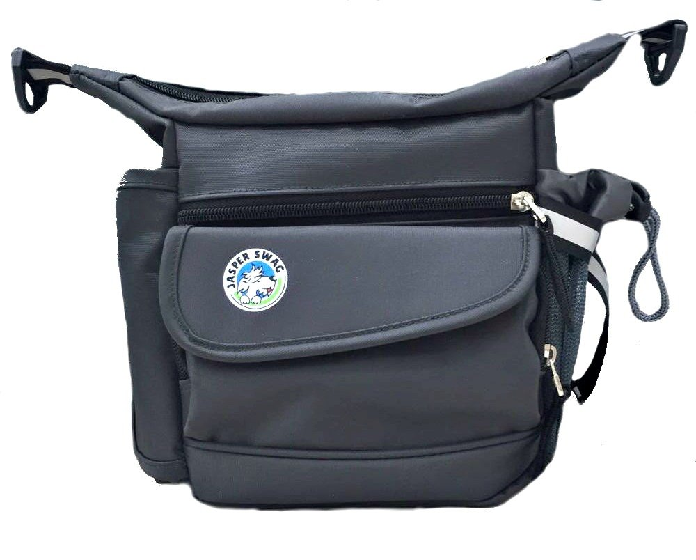 On the Fly Jasper Swag Dog Walking Bag Treat Pouch - Carry Leash, Phone, Water - Built-In Poop Bag Dispenser - Fanny Pack, Padded Cross Body Strap - Walk, Train or Hike