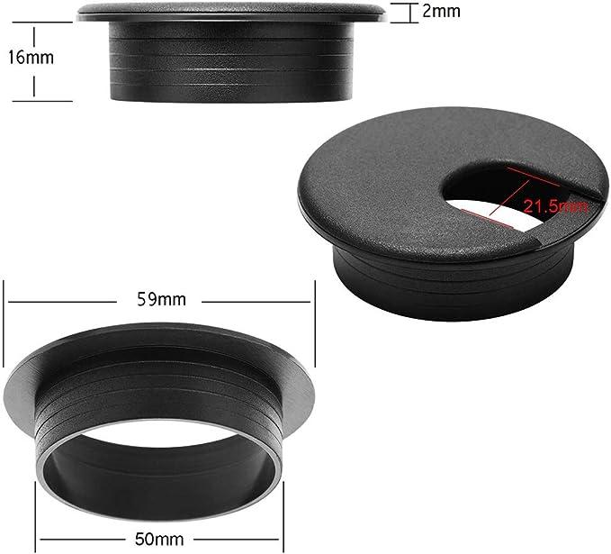 6PCS 50 mm Fil C/âble Noir Bureau Cordon /à Oeillet Organisateurs fil pour Couvercle Trou Rangement C/âble /à /œillets en Plastique Bureau Dordinateur Bureau