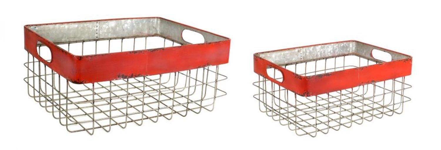 Diva At Home 9.5'' Gray and Red Vintage Inspired Outdoor Distressed Storage Basket