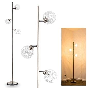 Lámpara de pie Iskuras de metal níquel mate - para salón - dormitorio - oficina - con interruptor de pie en el cable 3 luces