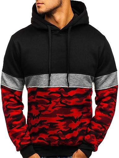 Mens Camo Print Hoodie Pullover Casual Long Sleeve Hoody Sweatshirt Jumper Top