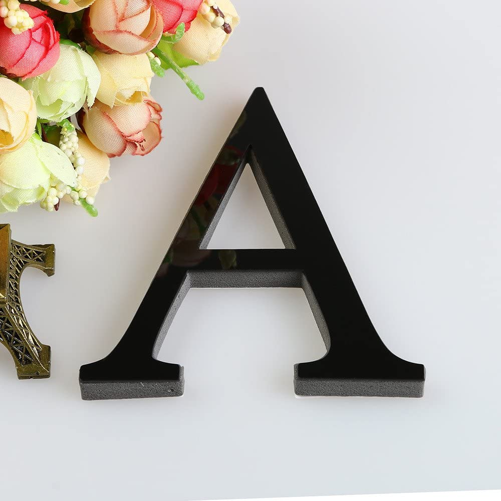 A, 1PC Best4UrLife 26 Letters LED Marquee Digital Lights,3D Mirror Acrylic Wall Sticker Decals Home Decor Wall Art Mural,for Wedding Birthday Party Lamp Night Light Home Bar Decoration,Black