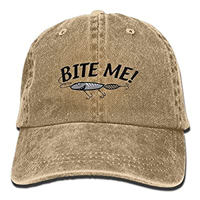Euge Bite Me Fishing Lure Snapback Casual Baseball Hat Denim Hat For Men And Women Ajustable