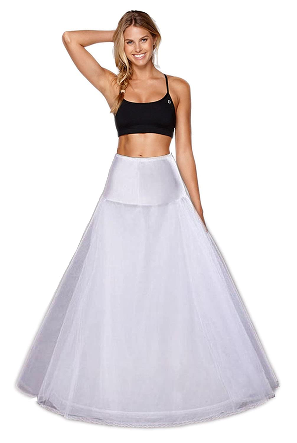 Babydress® Petticoat Wedding Hoop Skirt Wedding Crinoline Hoop a Line Underskirt Shaping Full Slips a Line Petticoat For Wedding Dress Wedding Petticoat Prom Dress White Petticoat Black)