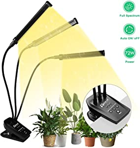 Plant Grow Light with Timer, NaCot 72W Full Spectrum Grow Lights for Indoor Plants for Succulent Plants with Adjustable Gooseneck & 3 Head Plant Growing Lamps
