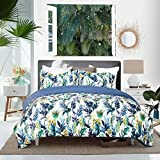 Purple Duvet Cover Duvet Cover Set with Zipper Closure-Blue/Purple/Ink Printed Tropical Reversible Design,King (104