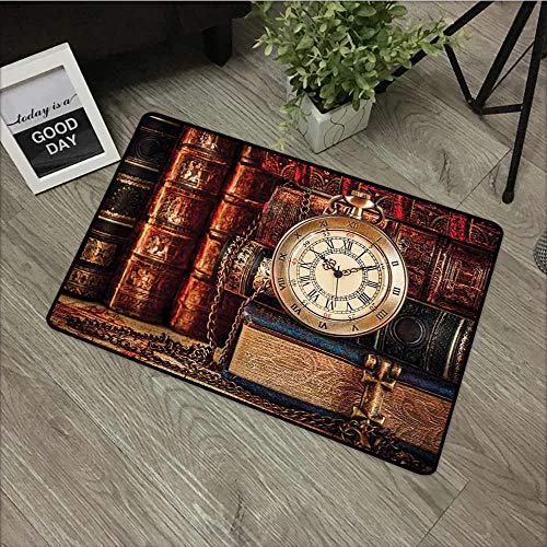 (Fakgod Funny Doormat Antique Nostalgic Classic Pocket Watch on The Background of Old Books Dated Archive Photo Super Absorbs Mud 35