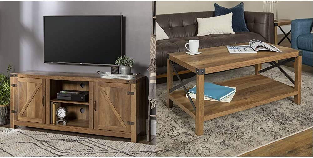 Walker Edison Furniture Company Farmhouse Barn Wood TV Stand Cabinet, 58 Inch, Reclaimed Barnwood & Rustic Modern Farmhouse Metal and Wood Rectangle Accent Coffee Table, Reclaimed Barnwood
