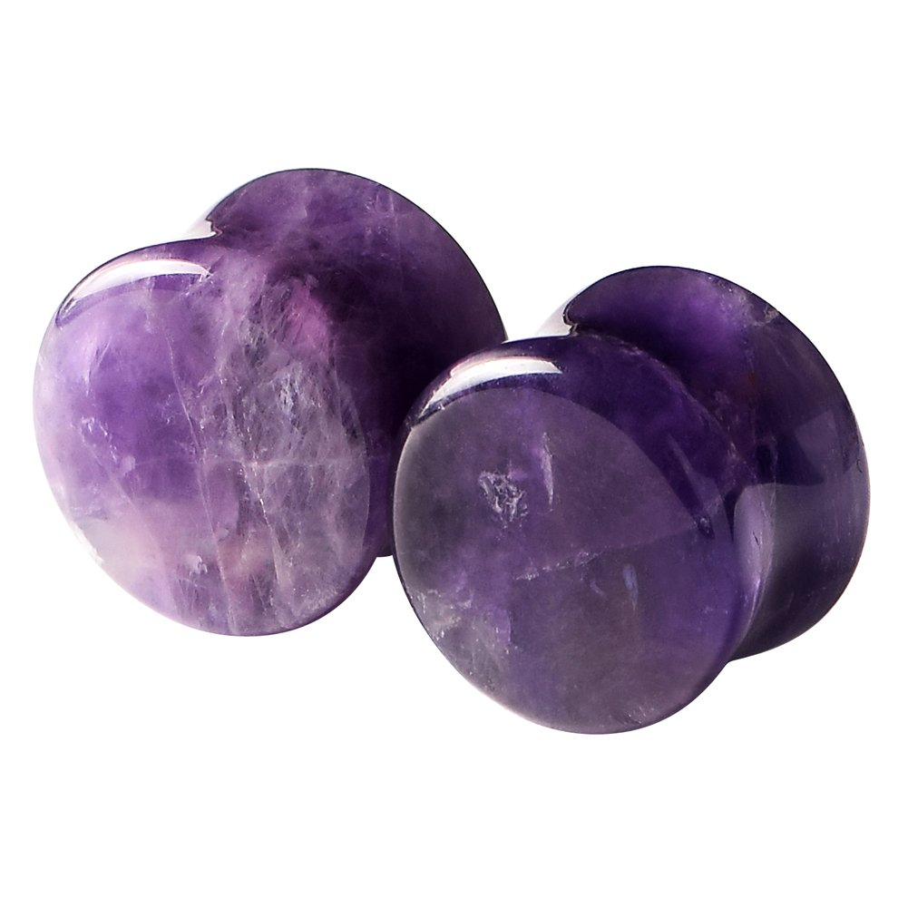 Purple Natural Amethyst-Organic Stone Puncture Double Flared Ear Plugs Tunnels Expander Gauge 2g-5/8