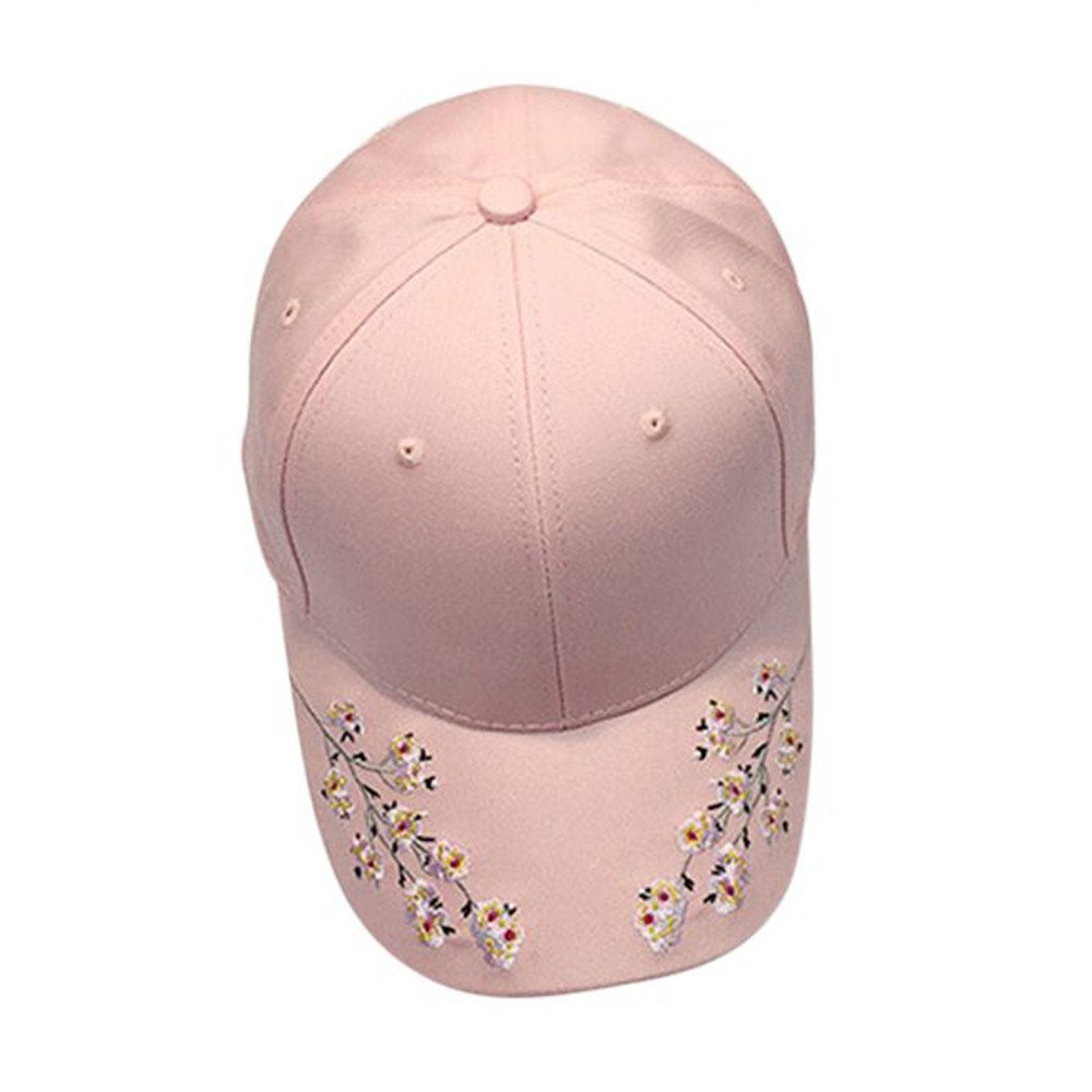 JESPER Women Flower Embroidery Cotton Baseball Cap Snapback Adjustable Caps Hip Hop Hats Pink