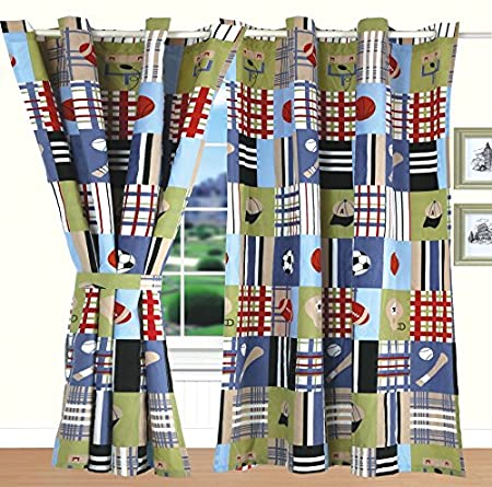 All American Collection New 4pc Printed Modern Patchwork Sports Curtain Set for Bedspread Coverlet Set Curtain Set, Spo American Linen /& Rugs