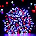 Qedertek Solar Christmas String Lights, 72ft 200 LED 8 Mode Patriotic Lights, Red White Blue String Lights Corresponding with Star-Spangled Banner, Holiday Decor Lights for July 4th, Halloween, Party