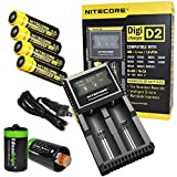 Nitecore D2 Digicharge battery charger, four Nitecore 18650 NL183 2300mAH rechargeable batteries with 2 X EdisonBright AA to D type battery spacer/converters (Charger for Li-ion, IMR, LiFePO4 14500 10440 26650 22650 18650 17670 18490 17500 18350 16340 RCR123 Ni-MH And Ni-Cd AA AAA AAAA C Rechargeable Batteries)