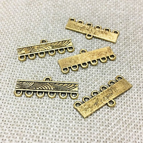 20 pcs Necklace Connector Toggle Clasps Jewelry Findings Accessories Multi Strand Bracelet Layer Buckle Pendant Bails Tassel Chandelier Drop Earrings Dangle (28 mm 6 hole Antique (Multi Strand Dangle)