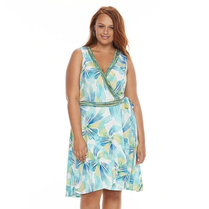 Suite 7 Women's Plus Size Swirl Faux-Wrap Dress (Green Multi, ...