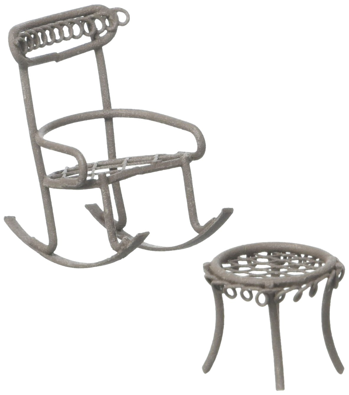 Midwest Design Micro Mini Iron Garden Rocking Chair & Table Set (2 Pack), Rustic MD50089