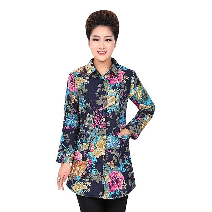 ZEVONDA Mujer Largo Camisa Abrigo - Elegante Cremallera Impresión Chaqueta Espesar Calentar Tops Outwear: Amazon.es: Ropa y accesorios