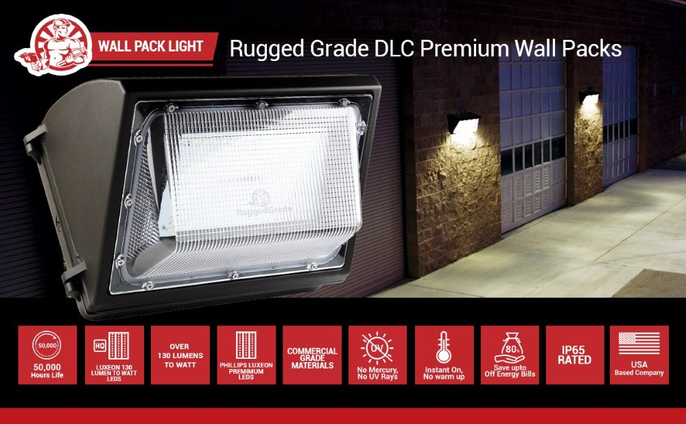 Wall Pack LED -4000K Bright White 80 Watt LED Wall Pack Light Replaces 250watt Metal Halide HPS 10400 Lumens- High Efficiency 130 Lumen to Watt- DLC Premium Listed