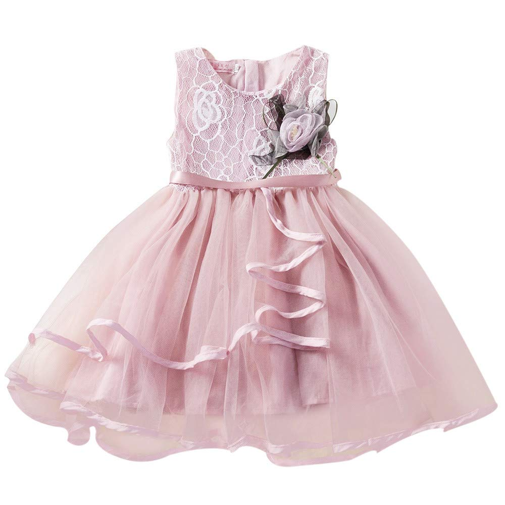 POIUDE Clearance Girl Clothes Baby Sleeveless Lace Flowers Mesh Princess Tutu Dress POIUDE-baby clothes