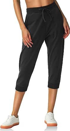 PULI Capris for Women Joggers Capri Cotton Sweatpants Lounge Workout Sweat Pants