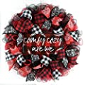 Buffalo Plaid Check Wreath | Comfy Cozy Are We Christmas Wreath; White Red Black