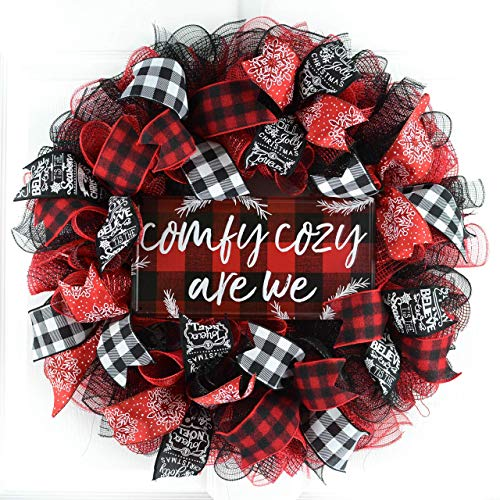 (Buffalo Plaid Check Wreath | Comfy Cozy Are We Christmas Wreath; White Red Black)