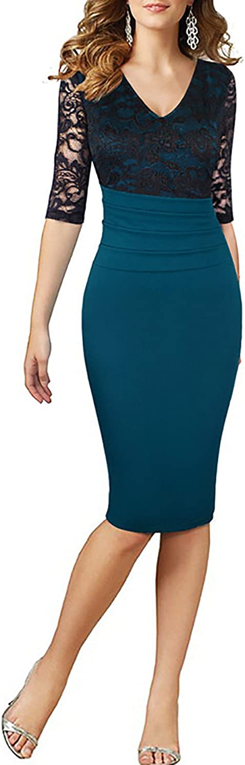 HELYO Womens Deep V Neck Half Sleeve Wear to Work Cocktail Party Pencil Special Occasions Dress 198
