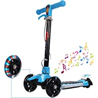 GYMAX 3 Wheels Scooter, Kick Tri-scooter with Adjustable T-Bar and Flashing LED Wheels - Sports Toy for Toddlers Children Boys Girls