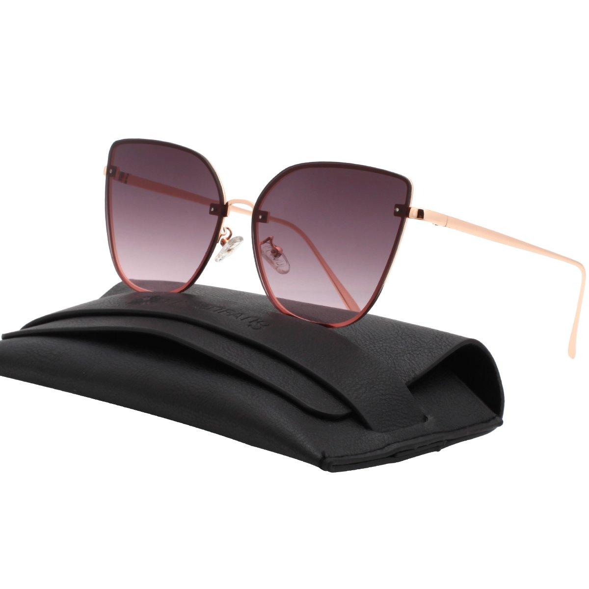 VIVIENFANG LEXI Flat Lens Rimless Sunnies Mirrored Aviator Sunglasses For Unisex G87027A Ocean Lens
