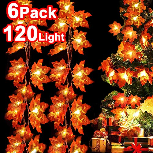 iGeeKid 6 Pack 120 Lights Fall Maple Leaf Garland Thanksgiving Decorations Total 60Ft Fall Garland Waterproof 3AA Battery Powered Maple Leaf String Lights for Holiday Autumn Garden (Leaf Lights Fall)