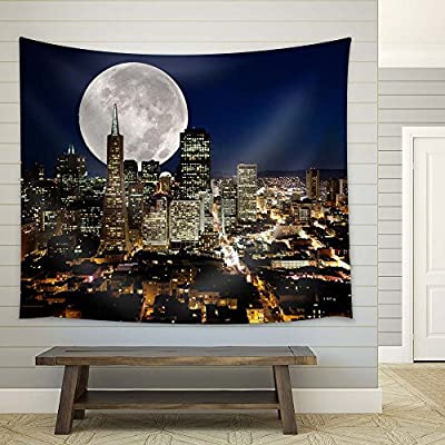 Giant Full Moon Above City, Classic Artwork, Marvelous Picture