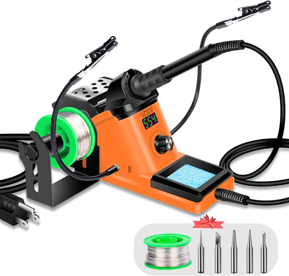 LONOVE Soldering Iron Station Kit – 60W Solder Station 194?-896? Adjustable Temperature, LED Display, Sleep Function, C/F Switch, 2 Helping Hands, 5 Extra Solder Tips & 1 Solder Wire